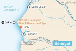 Mapa s vyznačenou polohou hotelu Lamantin