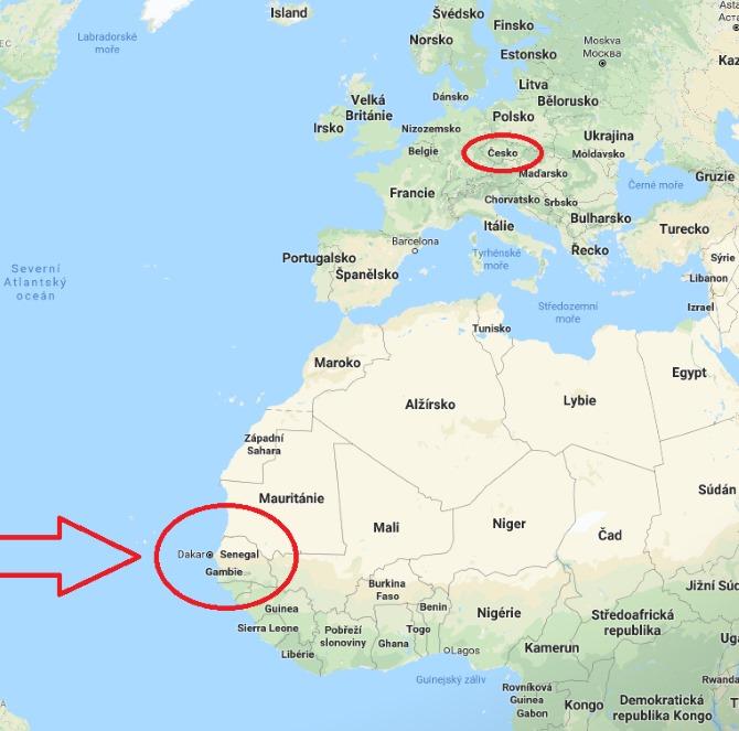 Kde je a leží Senegal na mapě