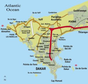 Mapa Dakaru Senegal
