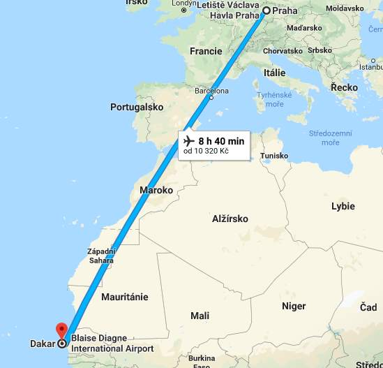 Doba a délka letu z Prahy do Senegalu