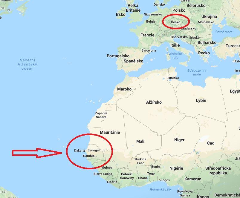 Kde leží Senegal na mapě světa